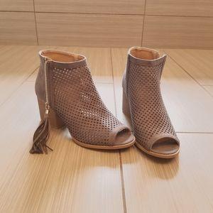 Tamra grey open toe booties